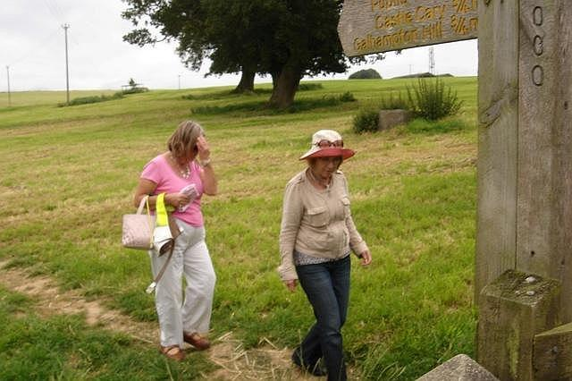 Diana Lutley on a walk above Castle Cary with Gail Isaac. 2011
