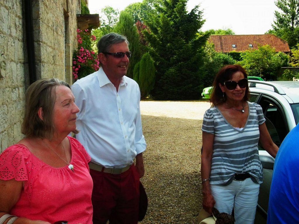 Diana Lutley, Rodney and Ruth Sawtell at Higher Farm, Chilton Cantelo