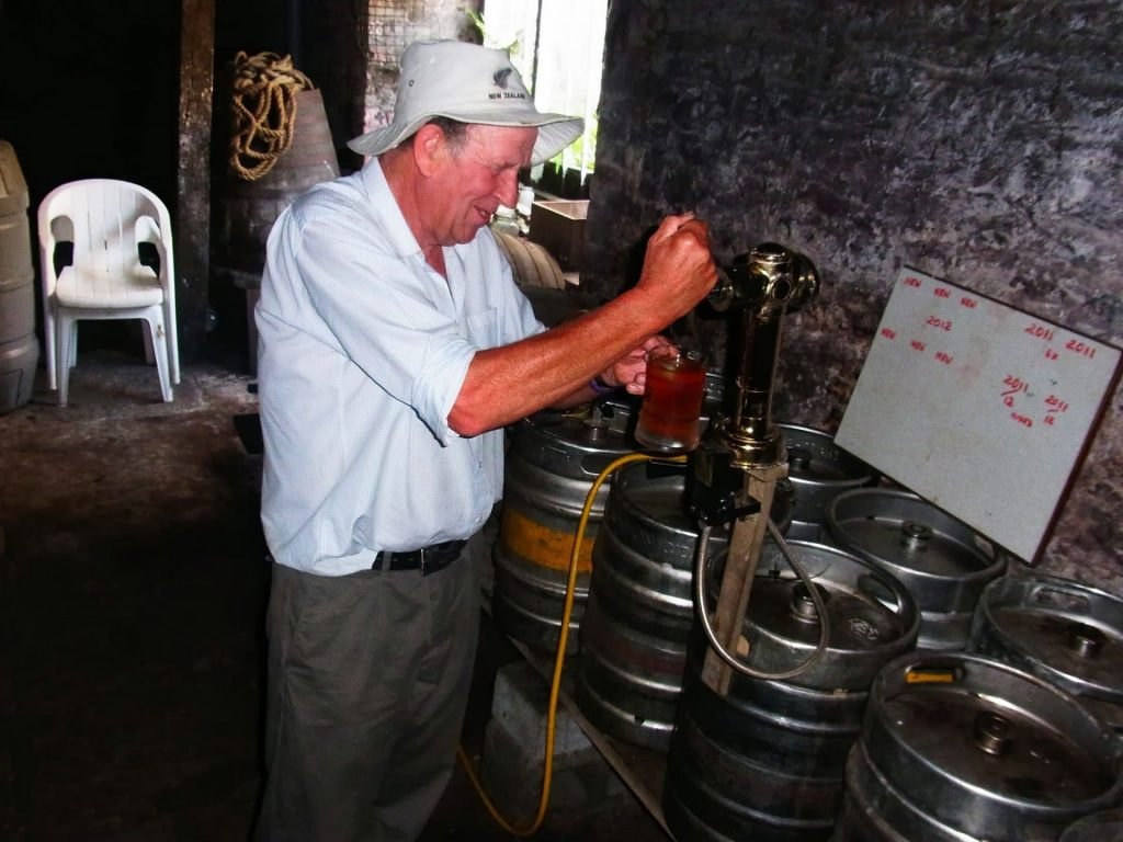 Nobby Kerton pulls a pint of his excellent cider